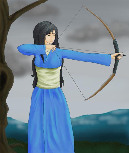 Laura mit Pfeil und Bogen